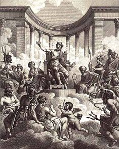 In Greek mythology, the Twelve Olympians, also known as the Dodekatheo were the principal deities of the Greek pantheon, residing atop a mythical Mount Olympus. The Olympians gained their supremacy in a war of gods in which Zeus led his siblings to victory over the Titans.