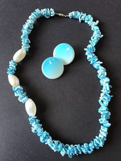 Vtg Turquoise Blue Puka Shell style Necklace Clip Earrings Set | Jewelry & Watches, Vintage & Antique Jewelry, Costume | eBay!