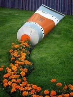 Garden decoration ideas, Creative garden decoration, tooth paste tube shape garden design.