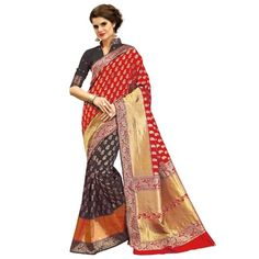 Multicolor woven banarasi silk saree with blouse - Shree Impex - 2361078 Bollywood Designer Sarees, Silk Sarees, Sari, Blouse, Fashion, Saree, Moda, La Mode, Blouses