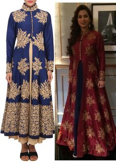 Twilight blue coloured zari embroidery salwar suit with dupatta only on Kalki