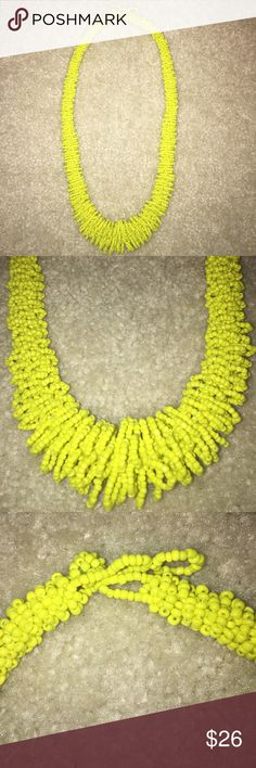 Yellow beaded looped design necklace Yellow beaded looped design necklace; ball and loop closure. Handmade. Vintage Jewelry Necklaces