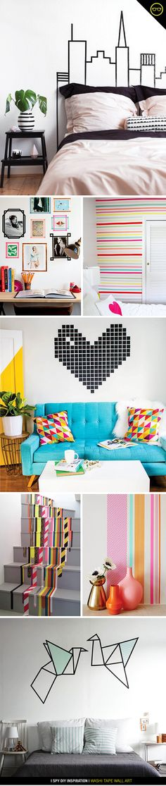 Need cool washi tape ideas? Wondering what to do with those rolls of colorful tape like I was? Check out this amazing work of art and DIY Inspiration by I Spy DIY. Check out this Washi Tape Wall Art Project DIY Tutorial