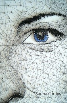 Creative Self Portraits, Advanced Higher Art, Pictures On String, Nail String Art, String Art Patterns, Thread Art, Pin Art, Art Plastique, Embroidery Art