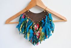 Amazon Queen Tribal Statement Necklace in jewelry fabric  with Necklace leather Jewelry Fabric