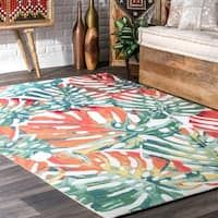nuLOOM Multi Indoor/Outdoor Contemporary Tropical Majestic Palm Tree Leaf Area Rug x Green Outdoor Dining Set, Indoor Outdoor Area Rugs, Outdoor Spaces, Orange Area Rug, Blue Area Rugs, Majestic Palm, Tropical Rugs, Wood Patio Furniture, Palm Tree Leaves