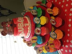 Daniel tiger birthday cake and cupcake tower