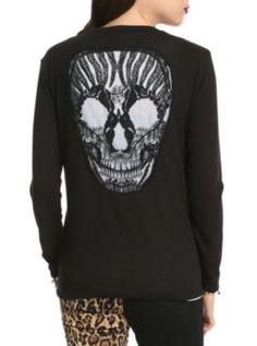 Teenage Runaway Embroidered Skull Cardigan $22.13