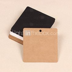 Square Kraft Paper Hang Tags Lables for Bookmark Gift Bakery Favors Wedding Party Price Cards Set of 50(More Colors) - USD $2.99
