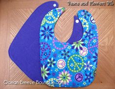 Peace and Flowers  Baby Bib by oceanbreezeboutique on Etsy, $5.00