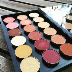Makeup Geek Madness Part 2 ❤️ | left (top-> bottom): Mango Tango, Cupcake, Brown Sugar, Rapunzel, Chickadee, Gold Digger | middle: Glamorous, Cosmopolitan, Goddess, Country Girl, Bitten, Burlesque | right: Vanilla Bean, Beaches&Cream, Peach Smoothie, Crème Brûlée, Frappé, Cocoa Bear  #makeupgeek #eyeshadow #makeupgeekcosmetics #newin