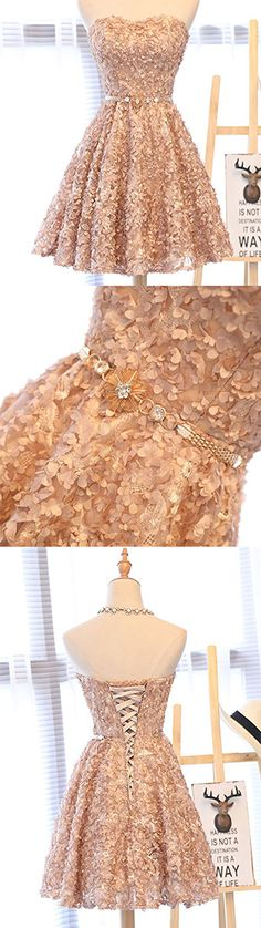 Gold Strapless Short Knee-Length Homecoming Dress,Applique Junior School Dress,A-line Sleeveless Homecoming Dress with Beading Band,Grad Dresses