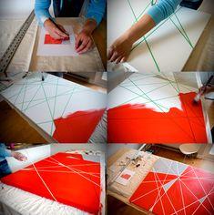 Crea tu propio cuadros tridimensional, sólo necesitas, pinturas, un bastidor y cinta de enmascarar.