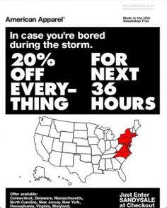 American Apparel causes Twitter outrage with 'Hurricane Sandy Sale' #fail