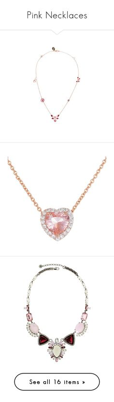 """""""Pink Necklaces"""" by alyssawui ❤ liked on Polyvore featuring jewelry, necklaces, red flower necklace, rose gold chain necklace, rose gold necklace, rose gold heart necklace, pink gold necklace, rose gold, pendant necklace and pink jewelry"""