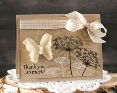 handmade  Thank You card by Laurie Schmidlin ... kraft .... luv the black, white and tonal stamping ...