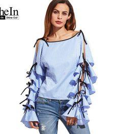 a47dceb40c4 SheIn Spring 17 Women Clothing Women Blouse New Fashion Boat Neck Blue  Striped Bow Tie Split