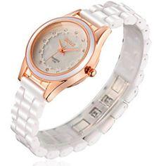 Women's Ceramic White Band Analog Quartz Japan PC Wrist Watch Jewelry Cool Watches Unique Watches