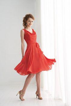 60b253c38 V Neck A Line Knee Length Dress With Sash Pick Up Chiffon Skirt US$ 79.99