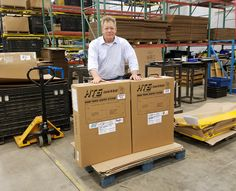 National Accounts Manager Carl Boettcher with HTS-10T and HTS-30D Ultra-Rack units shipping to ACDelco Batteries New York and Hogan Truck Leasing Missouri. Danaken Design's HTS corrugated shipping cartons packaged and ready to ship from Pulverman A Pennmark Technologies Company in Dallas, Pa.