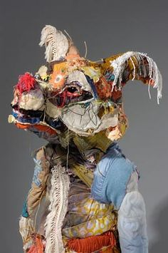 Elisabeth Higgins O'Connor makes these highly expressive textile sculptures of an unexpected mix of scraps and typical household textile.