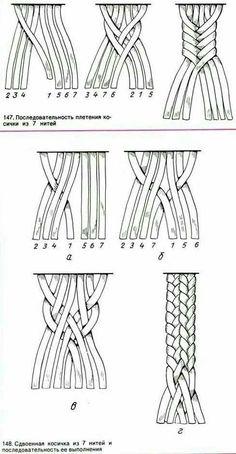 Macrame - seven strand braid by barbara billiard 7 by jean Bracelet Crafts, Macrame Projects, Craft Projects, Macrame Tutorial, Macrame Patterns, Crochet Patterns, Micro Macrame, Macrame Jewelry, Bracelet Patterns
