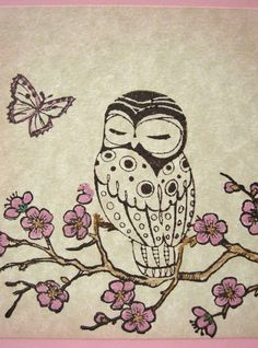 Maybe an owl on a cherry blossom branch with one blossom falling and no butterfly Pretty Tattoos, Cute Tattoos, Oma Tattoos, Grandma Tattoos, Owl Tat, Owl Always Love You, Cute Owl, Skin Art, Spirit Animal