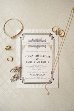 Vintage wedding stationery idea - Gatsby-inspired black + white wedding invitation idea {Priscilla Thomas Photography}