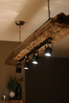 Mountain Haus Wood Beam Light Fixture - Imgur (use recessed track/DM)