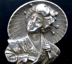 Antique Ring Sterling Silver Geisha Girl Large Oriental Japanese 7 5 Figural | eBay