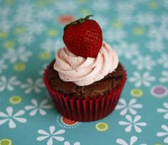 Brownie Cupcakes with Strawberry Frosting