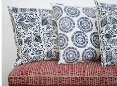 blue patterned cushions