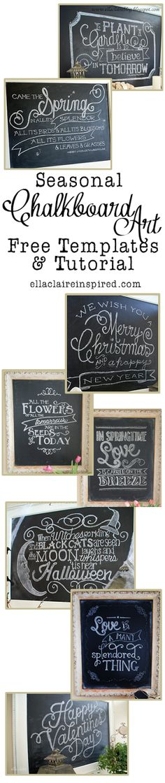 Seasonal Chalkboard Art with Free Templates and Tutorial! #DIY #Chalkboard