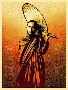 shepard fairey | Shepard Fairey 'Burmese Monk' Print - mashKULTURE