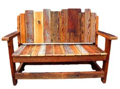Rustic Furniture Bench, Reclaimed Wood Chair, Rustic Natural furniture, Salvaged lumber settee, Bench, Seating, Outdoor furniture, Western. on Etsy, $545.00