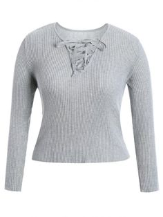 AD : Ribbed Lace Up Plus Size Knitwear - GRAY   Material: Cotton Blends   Shirt Length: Regular   Sleeves Length: Full   Collar: V-Collar   Style: Casual   Season: Fall,Spring   Pattern Type: Solid   Weight: 0.3800kg   Package: 1 x Knitwear