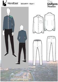 Here East is a 1.2 million sq. ft commercial space, set in a beautiful canal side location in East London's Queen Elizabeth Olympic Park Our brief was to design a contemporary security guard look, and The Uniform Studio decided to take elements from the traditional shirt and play around with them. Taking the epaulette detail found on traditional security shirts, we replaced it with a screen prin