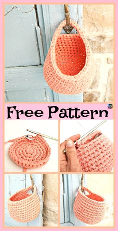 15 Useful Crochet Hanging Basket - Free Crochet - Diy Crafts Crochet Diy, Crochet Simple, Crochet Video, Crochet Storage, Crochet Pouch, Crochet Bags, Crochet Animals, Crochet Market Bag, Crochet Home Decor