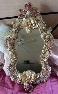 A Mermaids Mirror ~ French Venetian Rococo Pink Pearl Shell Encrusted Mirror.I used fingernail polish to get this look with shells on a mirror Seashell Art, Seashell Crafts, Beach Crafts, Diy And Crafts, Seashell Bathroom, Mermaid Room, Mermaid Bathroom, Boho Home, Beautiful Mirrors