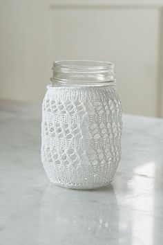 Eyelet Lace Mason Jar Cozy from Retro Kitchen Knits