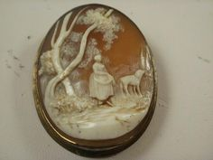 Vintage Carved Woman with Dog Scene Shell Cameo