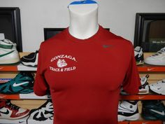 Men's Nike Pro Fitted Gonzaga Track and Field Shirt Medium Bulldogs Spandex EUC #Nike #ShirtsTops