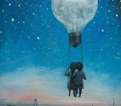 Our love will light the night @ Bordas Art And Illustration, Illustrations, Landscape Illustration, Inspiration Art, Moon Art, Surreal Art, Fantasy Art, Art Drawings, Art Photography