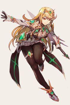Xenoblade Chronicles 2 Mythra by Hankuri Comic Manga, Anime Comics, Fantasy Characters, Female Characters, Fictional Characters, Game Character, Character Design, Xeno Series, Nintendo World