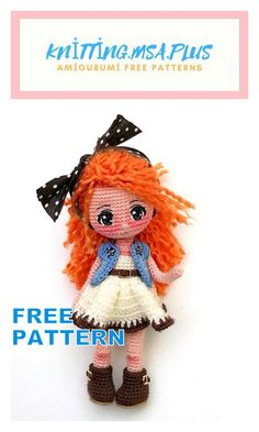 In this article I will share with you amigurumi doll elena free crochet pattern. We always keep you up-to-date with Amigurumi. In this article I will share with you amigurumi doll elena free crochet pattern. We always keep you up-to-date with Amigurumi. Crochet Dolls Free Patterns, Crochet Doll Pattern, Doll Patterns, Crochet Gratis, Crochet Toys, Free Crochet, Knitted Teddy Bear, Easy Knitting Projects, Hand Knitted Sweaters