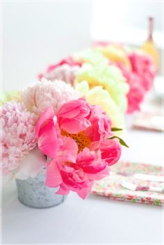 ♥ Sunny bright pinks pastels and lemon flowers, great wedding centrepiece