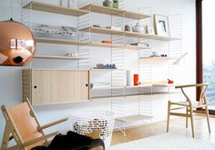 The String Shelf system is a flexible storage solution that can be assembled as shown in the main image. Due to the flexibility of the design, the shelves and units can also be repositioned in a number of different ways to suit your needs. Modular Shelving, Shelving Systems, Storage Shelving, Modular Storage, Storage Ideas, Loft Storage, Storage Systems, Storage Units, Shelving Ideas