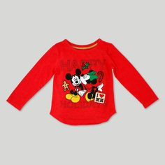Toddler Girls' Mickey & Minnie Happy Holidays Long Sleeve T-Shirt - Disney Red 12M, Size: 12 M