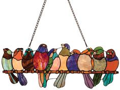 Stained Glass Birds on a Wire