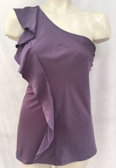 The Limited Purple Ruffle One Shoulder Top Shirt Blouse Sz XS | eBay